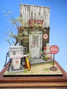 """Peters Service"" 1/24 scale. By ""Doozy"" Yasu OKUGAWA. #petrol_pump #diorama"