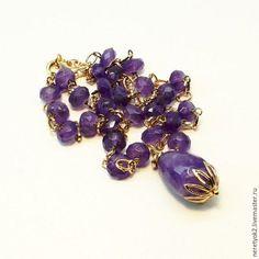Купить Бусы с кулоном из аметиста из натуральных камней в позолоте - фиолетовый сиреневый, юношевы, красивые бусы