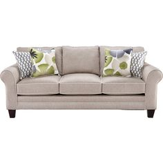 Lilith Pond Taupe Sofa ($725) ❤ liked on Polyvore featuring home, furniture and sofas