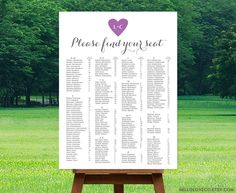 PRINTABLE Alphabetical Wedding Seating Chart | Reception Table Plan | Purple & Gray Find Your Seat Table Assignment Board | DIGITAL by HelloLoveCo on Etsy https://www.etsy.com/listing/237223148/printable-alphabetical-wedding-seating