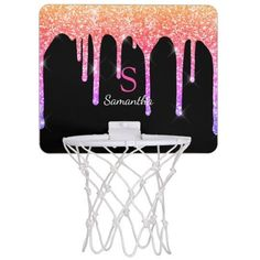 Enjoy this elegant design featuring your name and monogram or initial with chic and sparkly rainbow glitter drips over a black background.