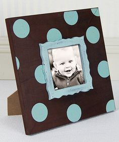 Take a look at this Tiffany Blue & Chocolate Polka Dot Frame on zulily today!
