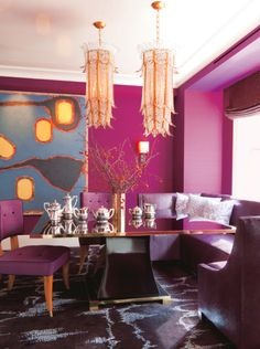 The Decorista-Domestic Bliss: Wallcolor Wednesday...purple dining area