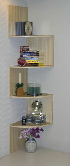 INTERIOR, Corner Shelf Unit: 4d Concepts Wall Mounted Corner Shelving Unit In Maple
