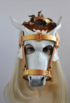 White Horse Mask with Detachable Bridle in leather called Crystal Spirit by Hawk & Deer Horse Costumes, Carnival Costumes, Cool Costumes, Kasimir Und Karoline, Horse Mask, Cinderella Carriage, Head Mask, Pony Horse, Leather Mask