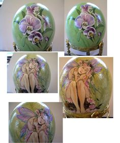 orchid and fairy painted on ostrich egg