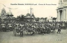 Marseille France Colonial Expo 1906 Rickshaw Race Start Antique Vintage Postcard