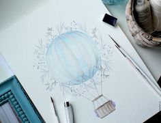 """Купить Акварели """"Air Baloon"""" - разноцветный, воздушный шар, акварель, акварельный рисунок, рисунок"""