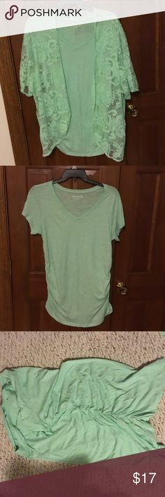 Pretty Lt. Green Tee & Summer, Lace Sweater 18/20W Perfect summer twin set to go with Leggings, skirt, whatever. Tank has side cinching (see photo). Two for the price of one! Cato Tops