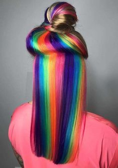 Browse here to see the amazing trends of rainbow hair colors with cutest top knot bun styles for 2018 The top female celebs like to wear gorgeous shades of rainbow hair colors with different variations of hair lengths But it dose not mean that it i - b Hair Color Purple, Hair Dye Colors, Cool Hair Color, Rainbow Hair Colors, Neon Rainbow, Rainbow Hair Highlights, Unicorn Hair Color, Rainbow Wig, Creative Hair Color