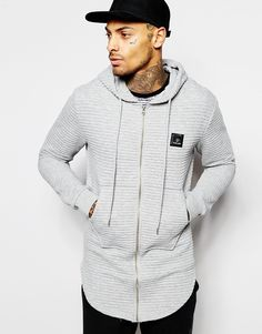 Criminal Damage Longline Hoodie In Rib