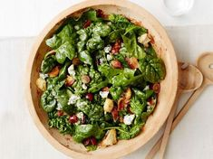 Spinach Salad with Warm Bacon Dressing Recipe : Food Network Kitchen : Food Network Bacon Recipes, Salad Recipes, Cooking Recipes, Syrup Recipes, Salad Bowls, Soup And Salad, Salad Bar, Vinaigrette, Warm Bacon Dressing