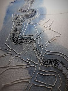 Bridget Steel-Jessop Still playing with lace and maps. Textiles, Map Quilt, Map Projects, Art Du Fil, Tambour Embroidery, Landscape Quilts, Fabric Manipulation, Map Art, Fabric Art
