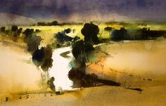 Landscape painting with watercolor