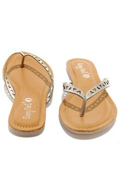 250d8eb69 Cute Silver Flip Flops - Silver Thongs - Thong Sandals -  12.00 Silver Flip  Flops