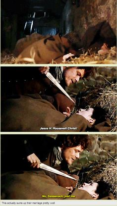 1a-104 ~ THE GATHERING ~ Jamie & Claire While trying to escape Leoch, Claire trips over a sleeping Jamie.  He is trying to be absent from the pledging