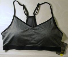Item ID: 381929274939 Women's Size L (12/14) DANSKIN Core Sports Bra Gray/Black Accent NWT #Danskin
