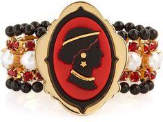 Miu Miu Crystal-embellished cameo bracelet on shopstyle.com