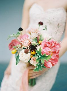 Image by Jen Huang, styling by One True Love Vintage, colorful and bright florals by Natalie Bowen. | napa wedding photography