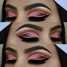 10 Dramatic Wedding Makeup Ideas for Daring Brides Eye Makeup Cut Crease, Pink Eye Makeup, Gold Makeup, Makeup For Green Eyes, Day Makeup, Beauty Makeup, Makeup 101, Makeup Ideas, Dramatic Wedding Makeup