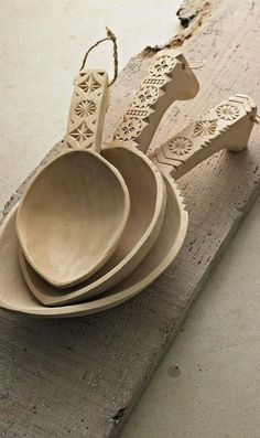 detailed etch wooden spoons