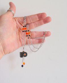 Philadelphia Flyers Orange and Black Crystal Pro Hockey Women's Necklace
