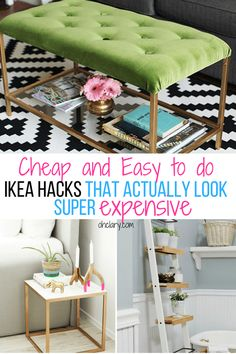 These 10 DIY IKEA Hacks will save you so much money on your furniture! Find some amazing IKEA storage ideas IKEA bedroom ideas and IKEA bathroom ideas from this list of hacks. Never again spend money Ikea Hacks, Ikea Hack Storage, Ikea Kallax Hack, Storage Ideas, Kura Hack, Ikea Organization, Diy Hacks, Ikea Bar, Living Room Hacks