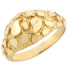 Remember these??   Solid Yellow Gold Nugget Diamond Cut Dome Ring Jewelry