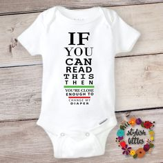 Funny Baby Onesie® a Cute Trendy Hipster Boy or Girl Bodysuit Outfit perfect Baby Shower or Birthday Gift, Funny Boho Eye Exam Baby Onesies - PRessure Applied - Babykleidung Cute Baby Onesies, Baby Shirts, Cute Baby Clothes, Girl Shirts, Cute Baby Stuff, Funny Clothes, Babies Clothes, Babies Stuff, Baby Outfits