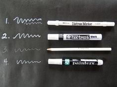 chalkboard packaging    white Paint Pins for writing on Black Kraft Paper (looks like chalkboard)