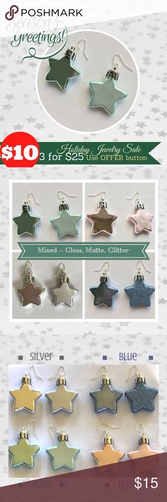 "🆕Star Earrings 🎁 Mixed: Glitter, Gloss, Matte 🎁 Shimmer and Shine! Beautiful star earrings show how unique you are! Each pair is mixed - a combination of glossy and matte or glitter and matte, in 4 colors. Nickel-free silver tone earwires. Great gift idea – for friends, family, teachers – or yourself! Listing price is for ONE pair of earrings - bundle for savings!  ⭐️Select style during purchase ⭐️Size: total hanging length approximately 2.5"" ⭐️Handmade with ❤️ in USA (parts from various…"