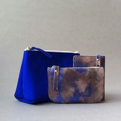 Calf & goat skin in blue #ateliersaintloup
