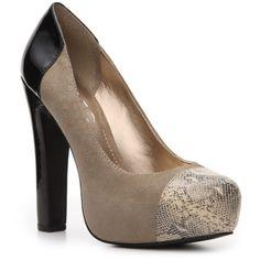 BCBG Paris Judd Pump - Taupe (980 RUB) ❤ liked on Polyvore featuring shoes, pumps, heels, sapatos, обувь, platforms, cap toe pumps, platform shoes, heel pump and taupe pumps