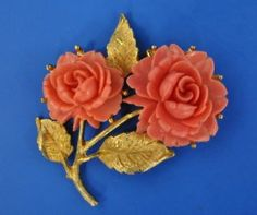 Chinese Carved Coral Brooch