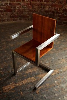 to ignore your Neighbors in Style! Modern Industrial Metal and wood chair.Modern Industrial Metal and wood chair. Metal And Wood Chairs, Industrial Metal Chairs, Industrial Design Furniture, Modern Industrial, Wood And Metal, Furniture Design, Industrial Decorating, Industrial Shelving, Industrial Lighting
