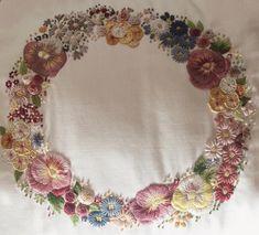 *I embroidered a garland. * 沢山のお花のリース。クラシックなデザイン。 * *(こちらは昔、南アフリカの先生から頂いたパターンです。5年前にはじめ、忘れたり思い出したりで、少しづつ進めた作品です。) * * #花輪#crown #embroidery#刺繍#DMCembroidery #花 #クッション#embroideryart #garland #em_hm #interior #flowers #ハンドメイド雑貨 #手芸部 #花畑 #刺繍部#デコレーション #ジュエル刺繍#atelierao #ao303 #자수 #長久手 #stickerei #flowerdesign #手刺繍 #リース #紫 #cushion #broderie#вышивка