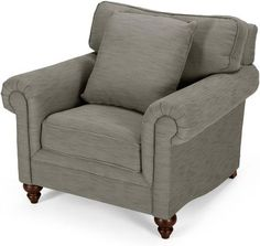 The Hawkins Armchair in grebe grey blends traditional detailing with bold upholstery for an eye-catching look. Sofas and storage footstool also available. Dark Wood Furniture, Living Room Furniture, Storage Footstool, Light In The Dark, Sofas, Armchair, Upholstery, New Homes, Grey