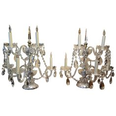 Pair of Crystal Five Branch Candelabras with Swags, Early 20th Century