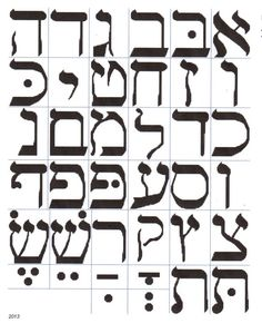 Hebrew Alphabet or Lettering Cross Stitch Pattern