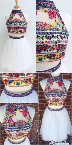 Two Piece Short Embroidery Floral White Homecoming Dress Homecoming Dress Two Piece Short Homecoming Dress, Short White Homecoming Dress, 2017 Homecoming Dress Indian Gowns Dresses, Indian Fashion Dresses, Indian Designer Outfits, Indian Outfits, Designer Dresses, Dresses Dresses, Mexican Dresses, Formal Dresses, Mode Outfits