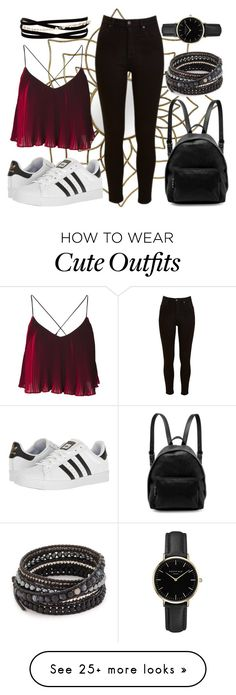 """""""Cute Outfit"""" by paigeriley-pc on Polyvore featuring Lee, adidas, STELLA McCARTNEY, Kenneth Jay Lane, Chan Luu, ROSEFIELD, cute, black, red and casualoutfit"""