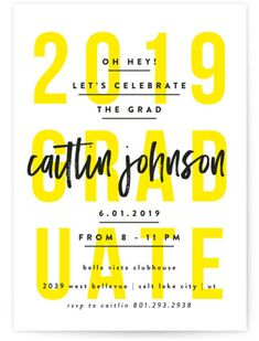 Bold And Typographic, Modern, Yellow Graduation Cards From Minted By Independent Artist Robert And Stella. Food Poster Design, Typography Poster Design, Poster Design Inspiration, Graphic Design Posters, Graduation Announcements, Graduation Invitations, Party Invitations, Graduation Cards, Event Invitation Design