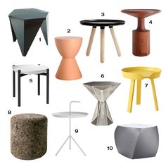 1. Prismatic Table by Isamu Noguchi for Vitra 2. Prince Aha Stool by Philippe Starck for Kartell 3. Small Tablo Table from Normann Copenhagen 4. Turn Tall End Table by Blu Dot 5. Tablo Tray Table by Design House Stockholm 6. Gem Side Table by Tom Dixon 7. Around Coffee Table by Thomas Bentzen for Muuto 8. Corks by Jasper Morrison for Moooi 9. DLM Side Table by Thomas Bentzen for HAY 10. Left Twist Cube by Frank Gehry for Heller