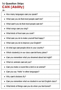 English Grammar Discussion Practice, Can (Ability), 16 Question Strips… English Grammar Worksheets, English Verbs, Learn English Grammar, English Language Learning, English Vocabulary, German Language, Japanese Language, Spanish Language, French Language