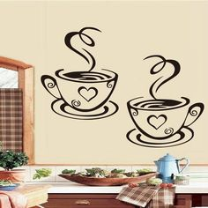 DCTOP Double Coffee Cups Wall Stickers On The Kitchen Vinyl Art Wall Decals Adhesive WallPapper Room Decoration Home Decor(China) Wall Stickers Uk, Personalised Wall Stickers, Large Wall Decals, Kitchen Vinyl, Custom Wall Decals, Kitchen Wall Stickers, Diy Kitchen Decor, Kitchen Wall Art, Vinyl Wall Decals