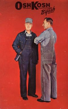 Advertising: OshKosh B'Gosh Chrome Ad Postcard, 1955 #Wisconsin #advertising #vintage