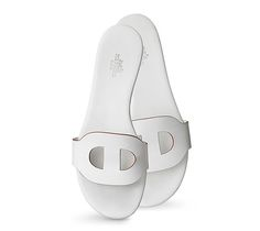 Lisboa Hermes ladies' sandal in calfskin with tone-on-tone sides, leather sole and white lining White