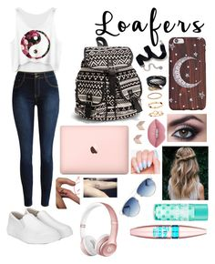 """""""Loafers on the first day of school!"""" by ela-abad524 on Polyvore featuring NLY Accessories, Sweet Romance, ASOS, H&M, FOSSIL, Lime Crime, Maybelline, Beats by Dr. Dre and Christian Dior"""