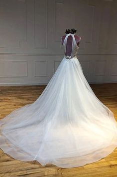 Simple Halter Long Train Tulle Wedding Dresses, A Line Sleeveless Bridal Dresses 2nd Wedding Dresses, Prom Dresses For Teens, V Neck Wedding Dress, Tulle Wedding, Cheap Wedding Dress, Bridal Dresses, Make Your Own Dress, Yes To The Dress, Marie