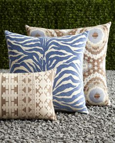Global Blue, Tan, & Brown Outdoor Pillows by ELAINE SMITH at Horchow.